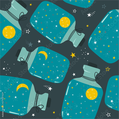 Seamless pattern with bottles, moon, stars. Good night, colorful backdrop design. Decorative cute wallpaper, good for printing. Overlapping background vector