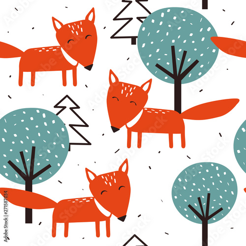 Foxes, trees and fir-trees, hand drawn backdrop. Colorful seamless pattern with animals. Decorative cute wallpaper, good for printing. Overlapping background vector. Design illustration