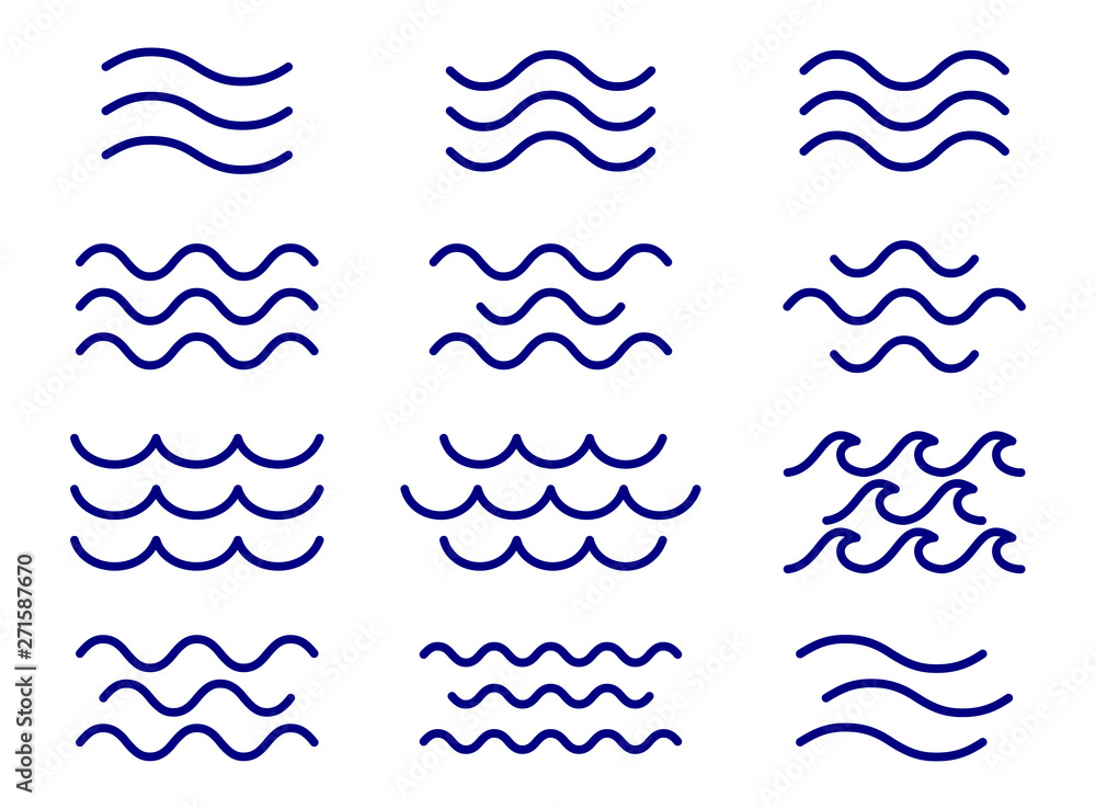 Fototapety, obrazy: Set of thin line waves vector, collection