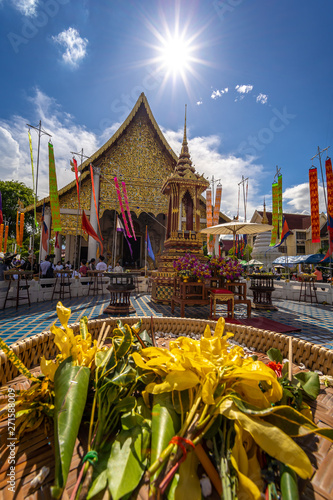 CHIANG MAI, THAILAND - MAY 29, 2019 :  Inthakin City Pillar Festival (Sai Khan Dok), Tradition of flower offering to the pillar in Chiang Mai, Thailand Canvas Print