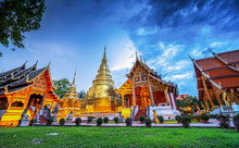 Panorama Of Wat Phra Singh Temple In Twilight. Most Favorite Landmark For Travel ,This Temple In The Old City Center Of Chiang Mai, Thailand..
