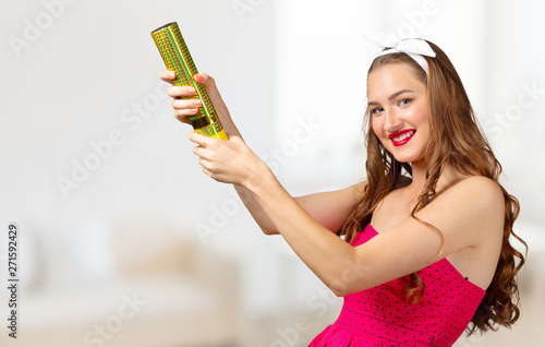 Fototapeta Surprised happy young woman  in excitement. Isolated