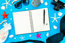 Woman Travel Diary Mockup. Top View Spiral Notepad With Sunglasses, Bikini And Starfishes. Copy Space For Text