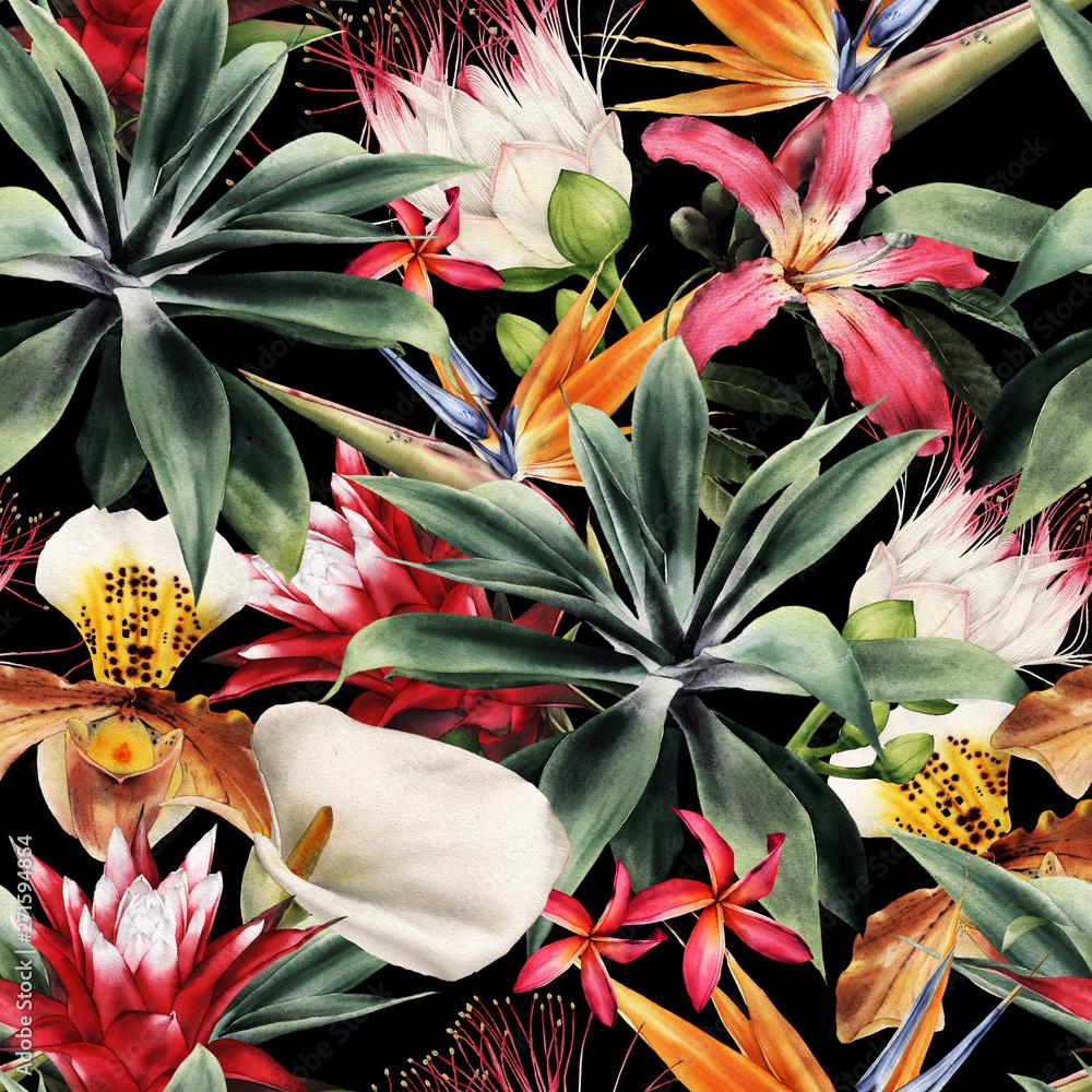 Fototapety, obrazy: Kwiecisty wzór z tropikalnymi kwiatami, akwarela