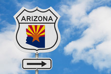Arizona Map And State Flag On A USA Highway Road Sign