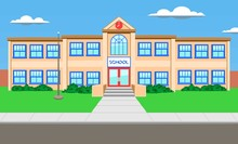 Building. A Colorful Two Storey School With An Entrance In The Center, A Clock And A Flagpole. Cartoon. Vector Illustration.