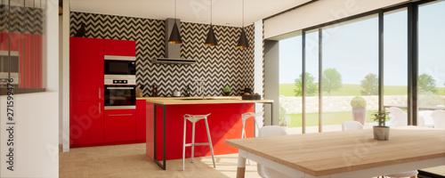 Vue 3d Cuisine Avec Ilot Central Et Meuble Rouge 02 Buy