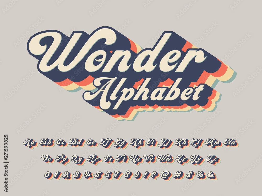 Fototapety, obrazy: Vector of groovy hippie style alphabet design