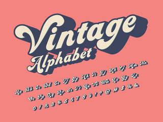Vector of groovy hippie style alphabet design