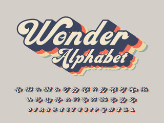 Vector of groovy hippie style alphabet design