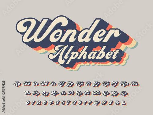 Fotografía  Vector of groovy hippie style alphabet design