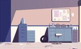 Car repair shop. Cartoon vector illustration. Garage indoor.