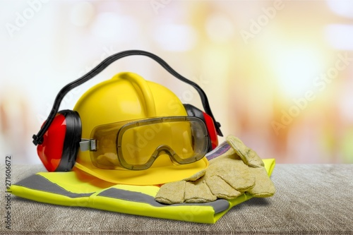 Fotografia  Safety Equipment - Helmet, Goggles, Ear Protection