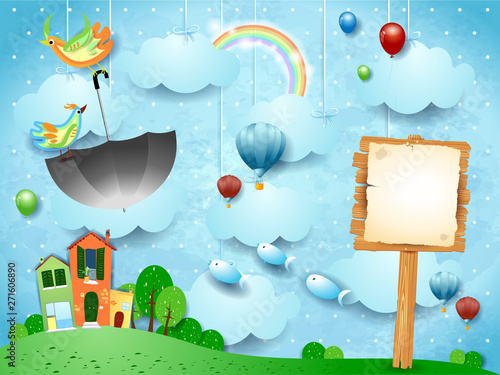 Fantasy landscape with sign and flying umbrella and fishes