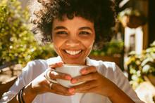 Woman Having A Refreshing Coffee