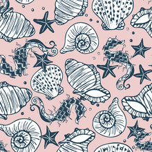Retro Navy And Pink Seahorse, ...