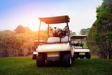Golf Cart On Fairway In Golf C...