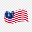 USA Flag isolated. Flag of USA, brush stroke background. Flag United States of America on transparent background. Flag USA for your web site design, logo, app, UI. Stock vector. EPS10.