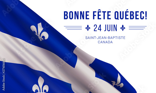 Foto Vector banner design template with flag of Quebec province and text on white background