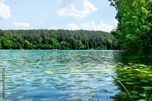 Montage in der Fensternische Blau Very beautiful landscape. Lake Balsys and green forest. Vilnius, Lithuania