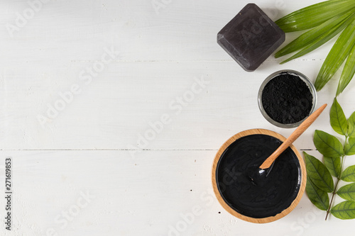 Fotografie, Obraz  Homemade skin remedies and facial care, activated black charcoal and yogurt mask