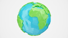 3D Rendering Rotated Low Poly Earth With Alpha Channel, Globe Illustration. Polygonal Globe Isolated On White Background, Low Poly Style