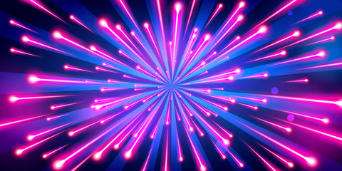 Vector Illustration abstract neon color big bang fireworks, galaxy background, speed of light