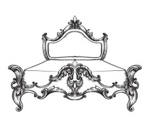 Baroque Bed Vector Line Art. Ornamened Decor Designs. Luxury Imperial Royal Styles