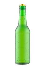 Frosted Green Glass Bottle On A White.