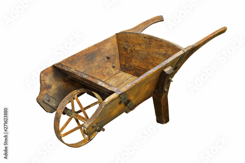 Leinwand Poster historic hamdmade wheelbarrow over white