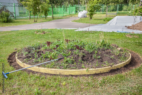 City Improvement Creating A Flower Bed Landscaping Improving