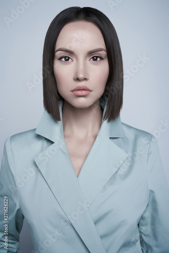 Poster womenART Beautiful sexy woman in blue autumn coat. Fashion art portrait.