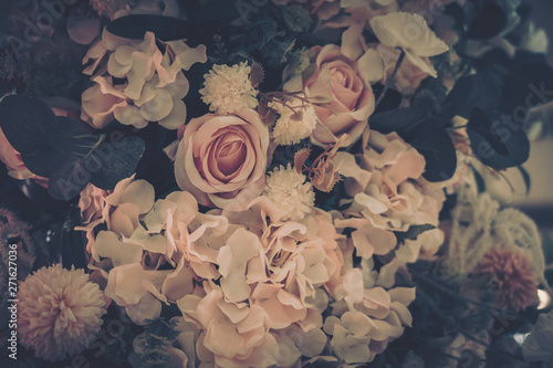 Poster Fleur Beautiful Artificial Flowers Background, Vintage style;