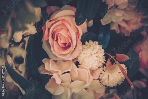 Keuken foto achterwand Bloemen Beautiful Artificial Flowers Background, Vintage style;