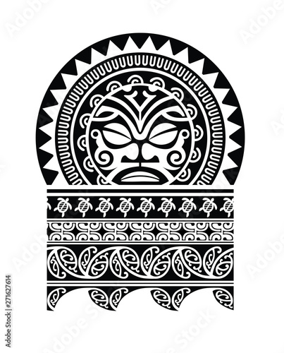 Fotografia, Obraz Polynesian tattoo shape shoulder sleeve pattern vector, samoan template design,