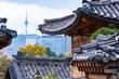 Leinwanddruck Bild - Seoul korea -October 26,2018.Landscape view of old town in Seoul Korea