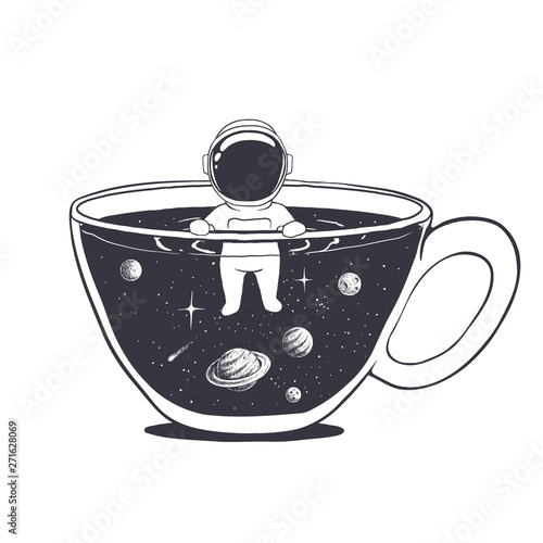 Photographie astronaut swims in a cup with space