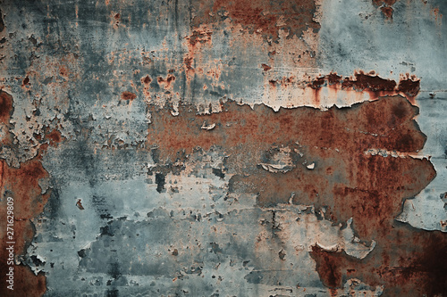Wall Murals Old dirty textured wall Texture of rusty metal with peeling paint