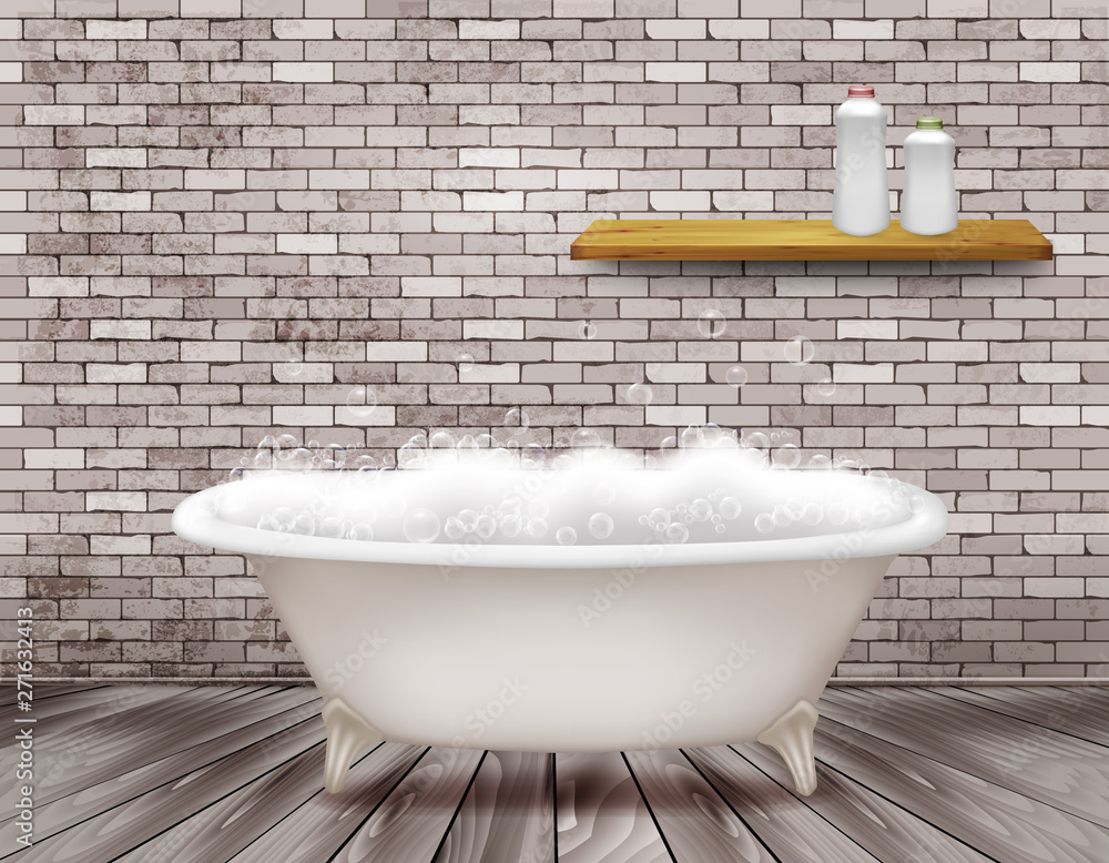 Fototapeta Luxury vintage bathtub with soap foam in bathroom. Vector illustration