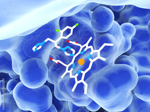 The antifungal drug fluconazole interacting with a heme group in the active site Canvas Print