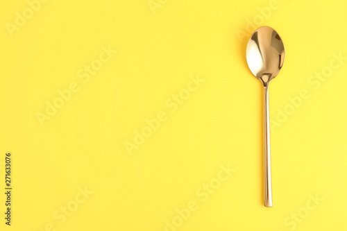 Clean tea spoon and space for text on color background, top view Canvas-taulu