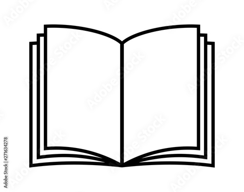 Vector illustration of open book in flat style. Icon