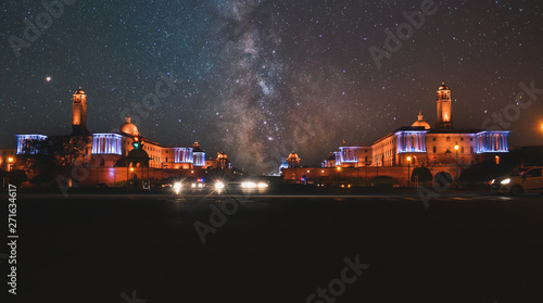 Night time photos of Rashtrapati Bhavan at New Delhi,India with milky way Wallpaper Mural