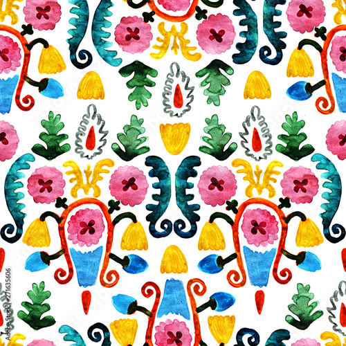 Fototapety, obrazy: Colorful seamless flowers primitive style. Beautiful floral pattern on white background. Detailed oriental hand-drawn watercolor illustration.