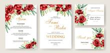 Elegant Watercolor Floral Wedding Card Template