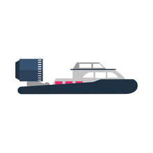 Hovercraft Sport Boat Sideview...