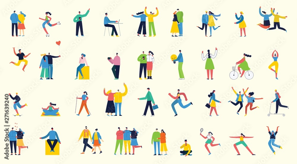 Fototapety, obrazy: Vector illustration in a flat style of different activities people jumping, dancing, walking, business, couple in love, doing sport, have party.