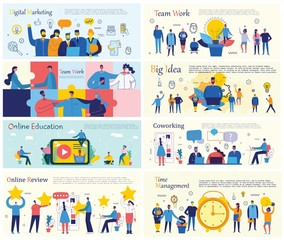 Vector illustrations of the office concept business people in the flat style. E-commerce, online education, project management, start up, digital marketing and mobile advertising business concept