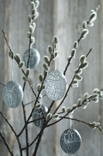 Hand-painted Easter Eggs Hanging From Pussy Willow Twigs