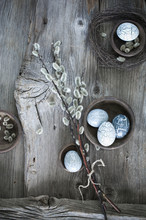 Hand-painted Easter Eggs, Pussy Willow Twigs And Cloth On Wood